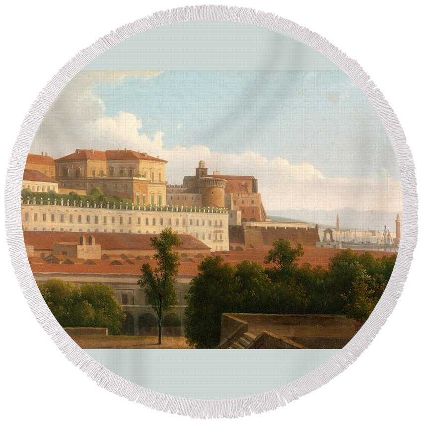 Alexandre-hyacinthe Dunouy Round Beach Towel featuring the painting The Palazzo Reale And The Harbor. Naples by Alexandre-Hyacinthe Dunouy