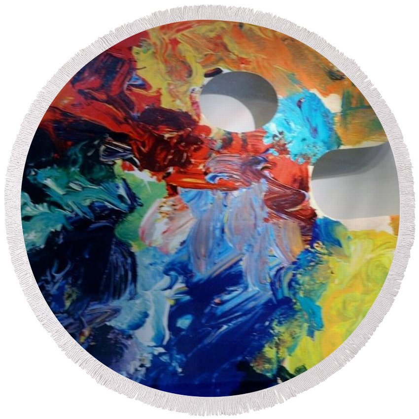 Abstract Round Beach Towel featuring the photograph The Palet by Rob Hans