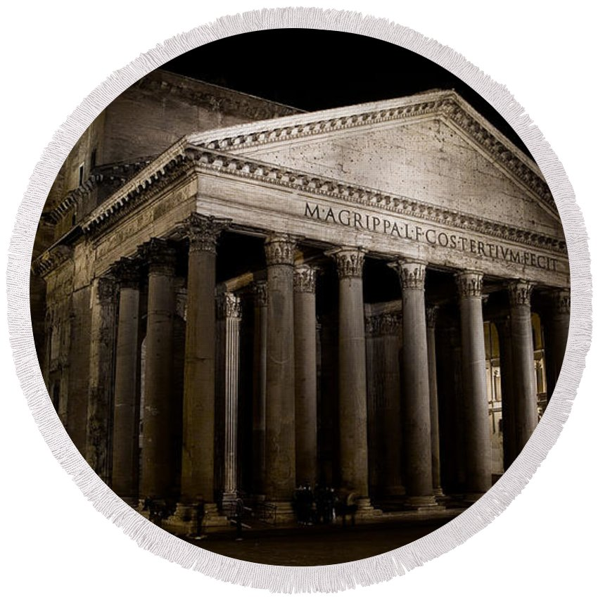 Pantheon Round Beach Towel featuring the photograph The Pantheon At Night by Weston Westmoreland