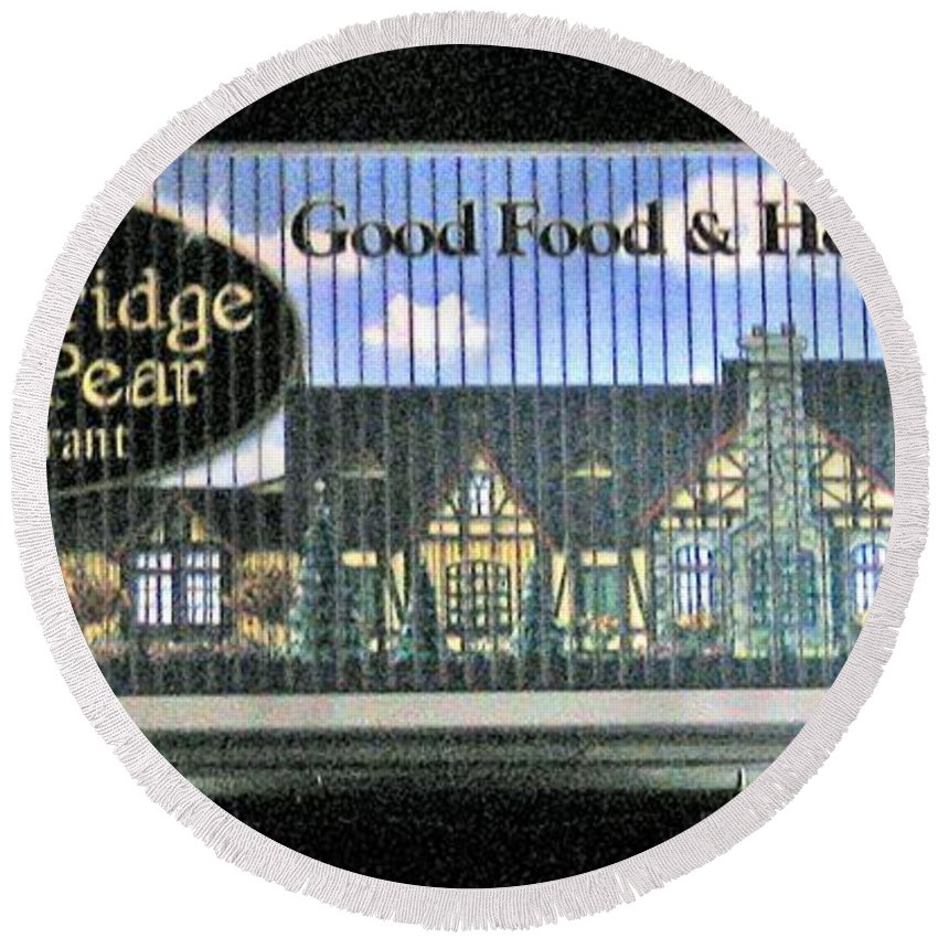 Photograph Round Beach Towel featuring the photograph The Partridge And Pear Restaurant by Marian Bell