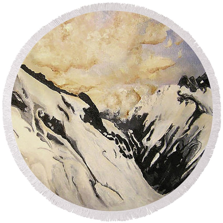 Mountains Round Beach Towel featuring the painting The Past Lingers by Fallon Franzen