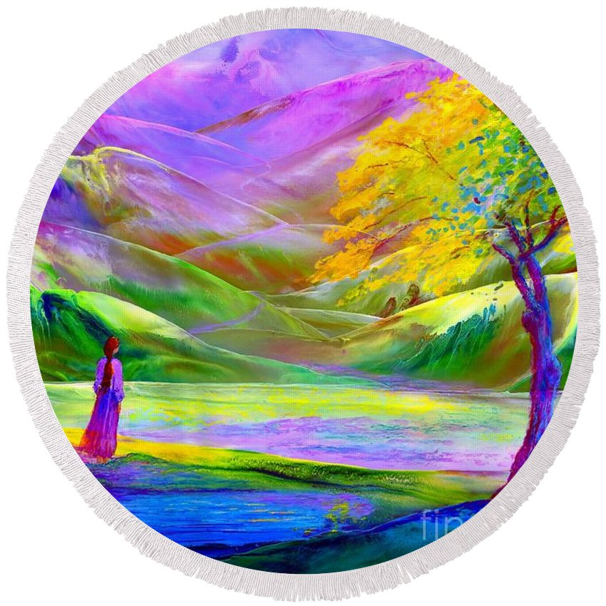Mountain Round Beach Towel featuring the painting Misty Mountains, Fall Color And Aspens by Jane Small