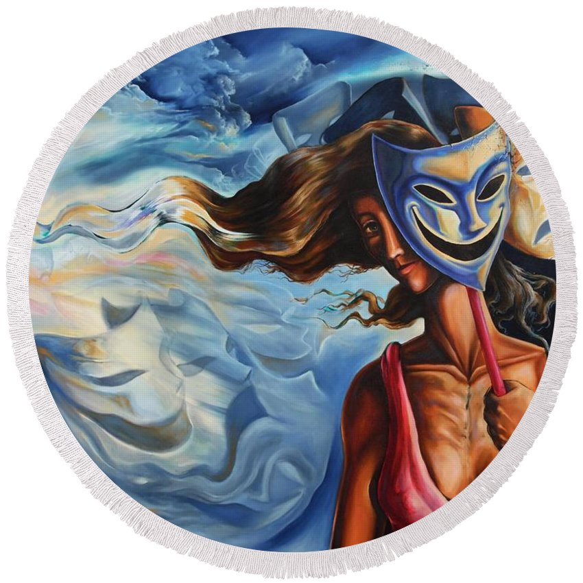 Surrealism Round Beach Towel featuring the painting The path of Irony II by Darwin Leon