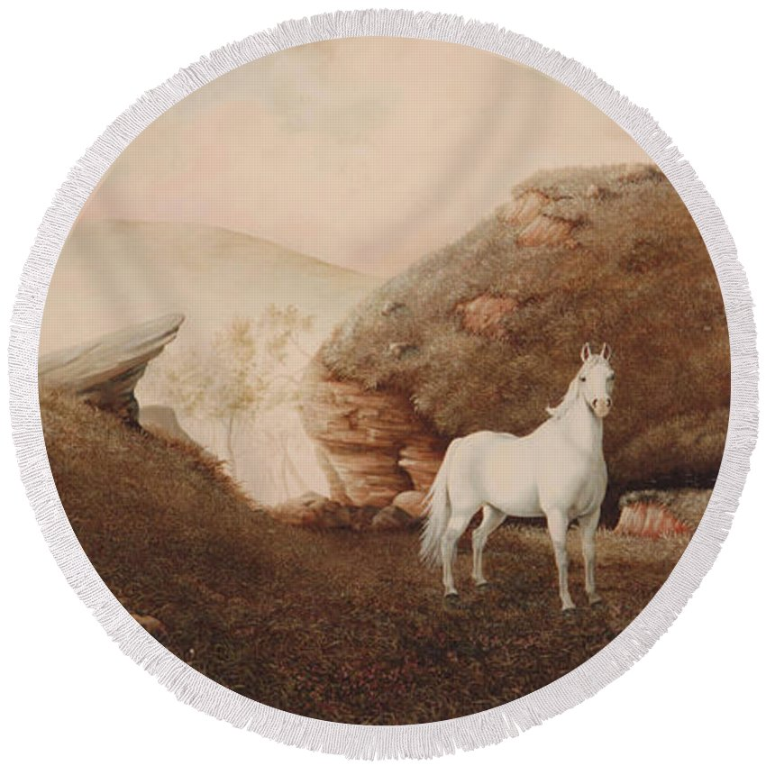 Horse Round Beach Towel featuring the painting The Patriarch by Duane R Probus