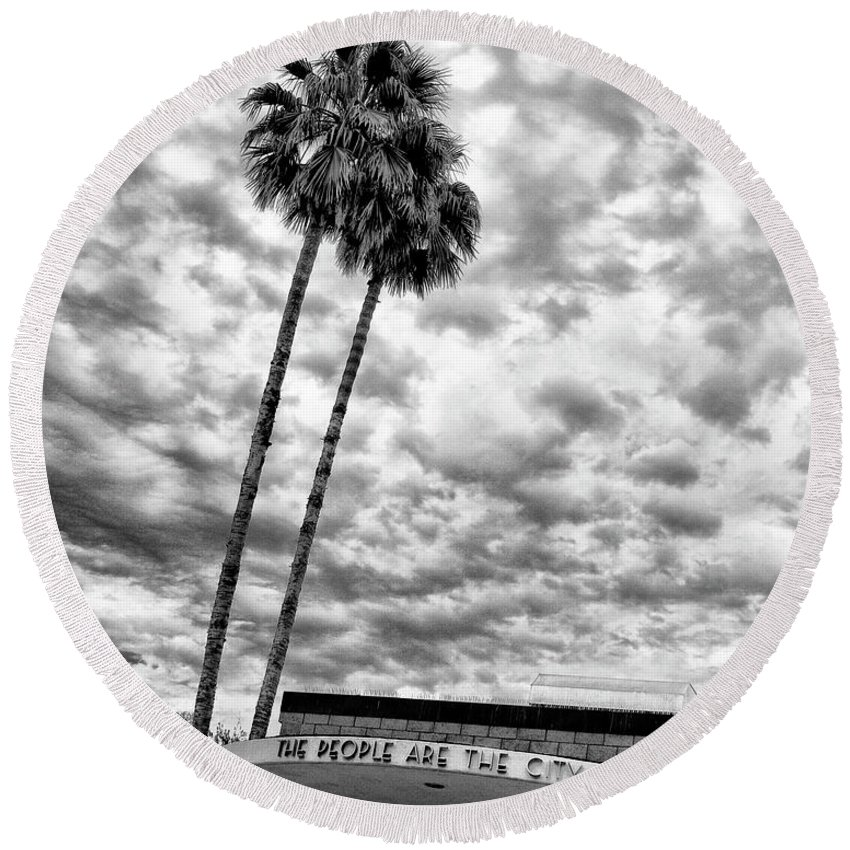 Featured Round Beach Towel featuring the photograph The People Are The City Palm Springs City Hall by William Dey