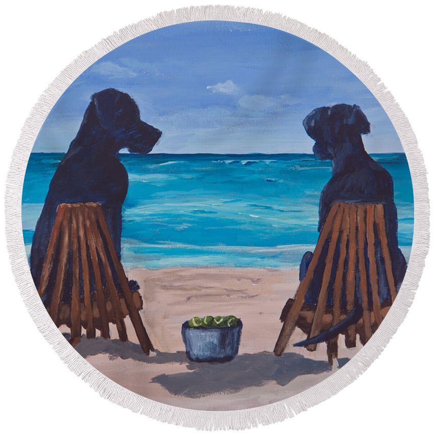Labrador Retriever Round Beach Towel featuring the painting The Perfect Beach Day by Roger Wedegis