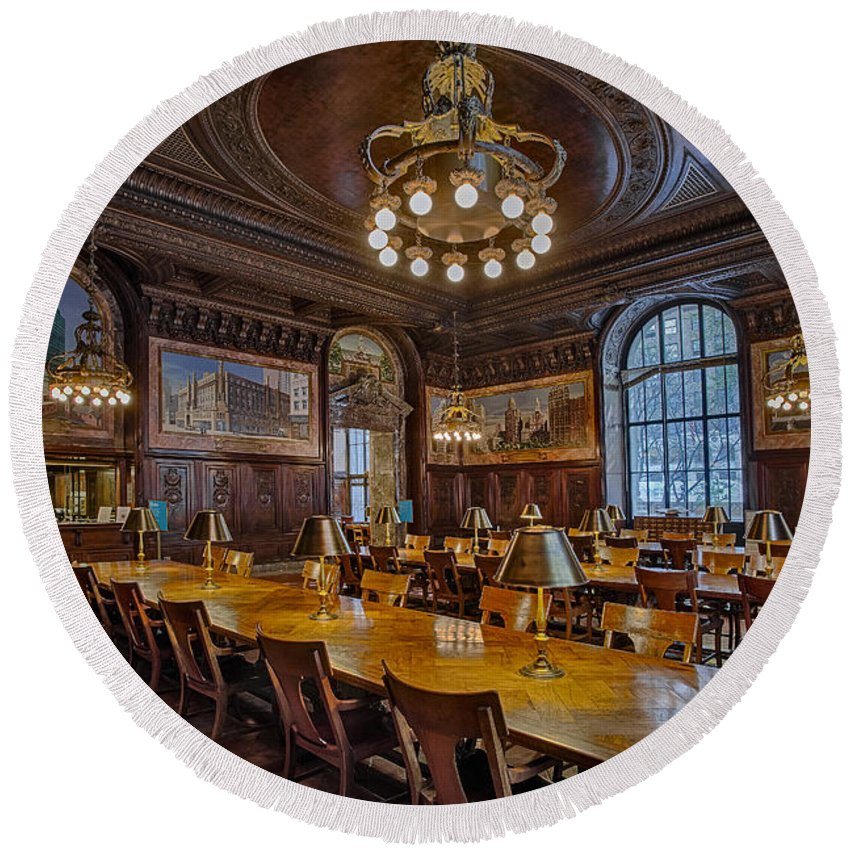 Nyc Round Beach Towel featuring the photograph The Periodical Room At The New York Public Library by Susan Candelario