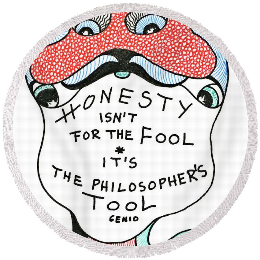 Genia Round Beach Towel featuring the drawing The Philosophers Tool by Genia GgXpress