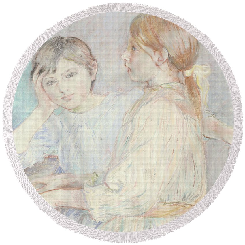 Male; Female; Boy; Girl; Playing; Practice; Practising; Brother; Sister; Ennui; Concentration; Interior; Impressionist; Portrait; Three-quarter Length Round Beach Towel featuring the pastel The Piano by Berthe Morisot