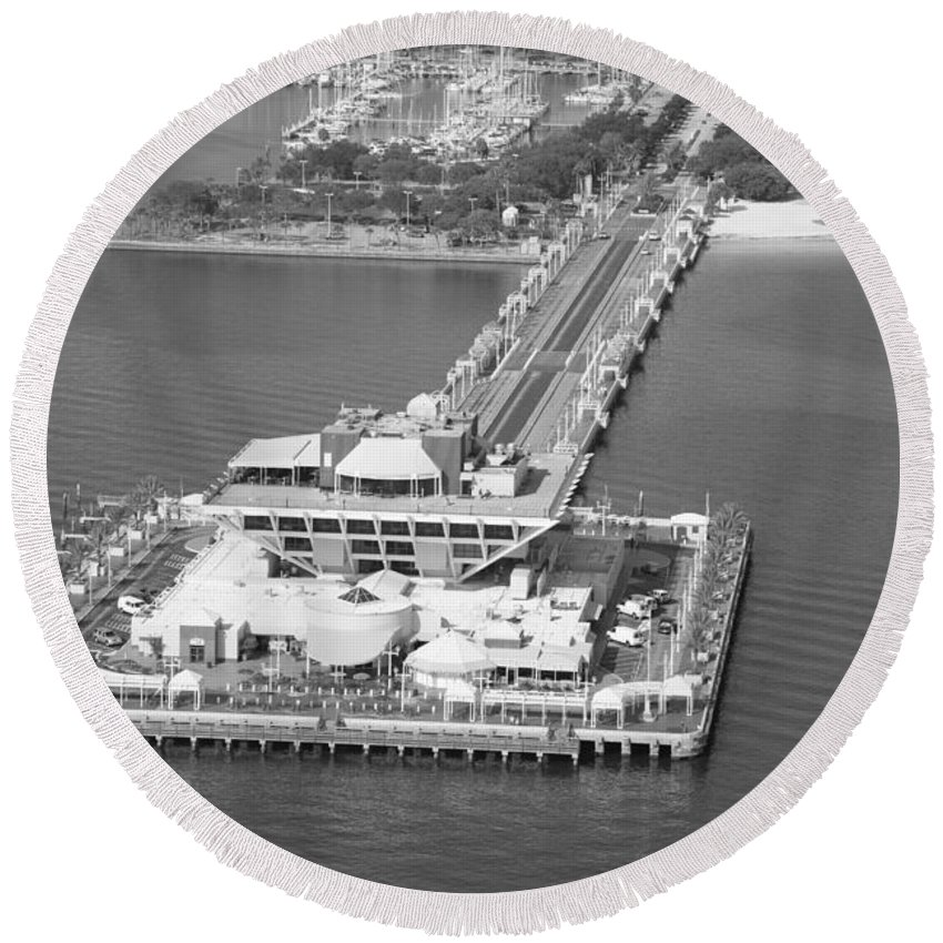Black And White Round Beach Towel featuring the photograph The Pier St Petersburg Fl by Bill Cobb