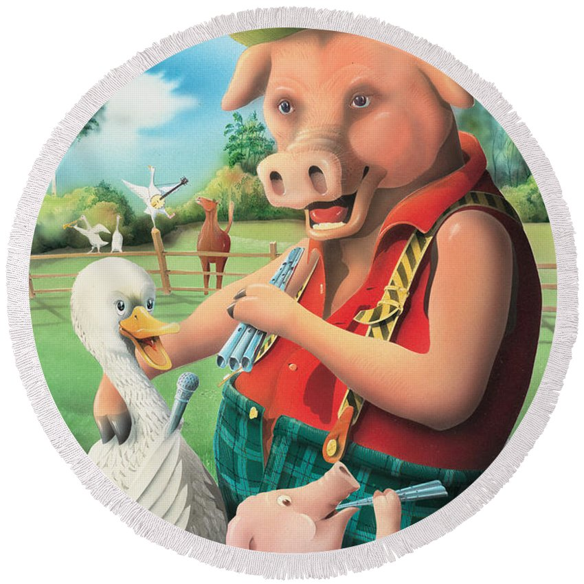 Pig & Whistle Round Beach Towel featuring the painting The Pig & Whistle by Peter Green