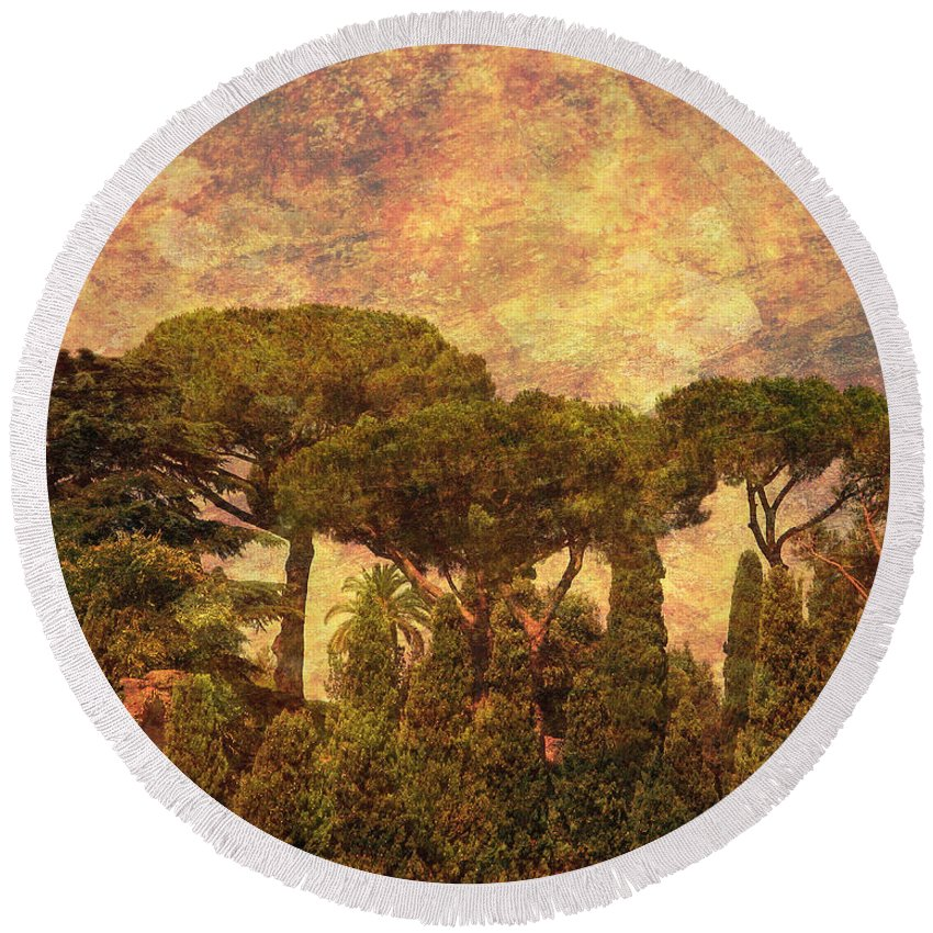 The Pines Of Rome Round Beach Towel featuring the photograph The Pines Of Rome by Greg Matchick