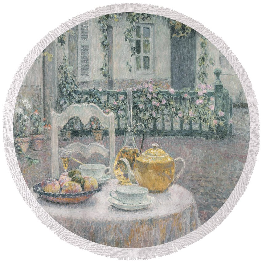 Table Round Beach Towel featuring the painting The Pink Tablecloth by Henri Eugene Augustin Le Sidaner