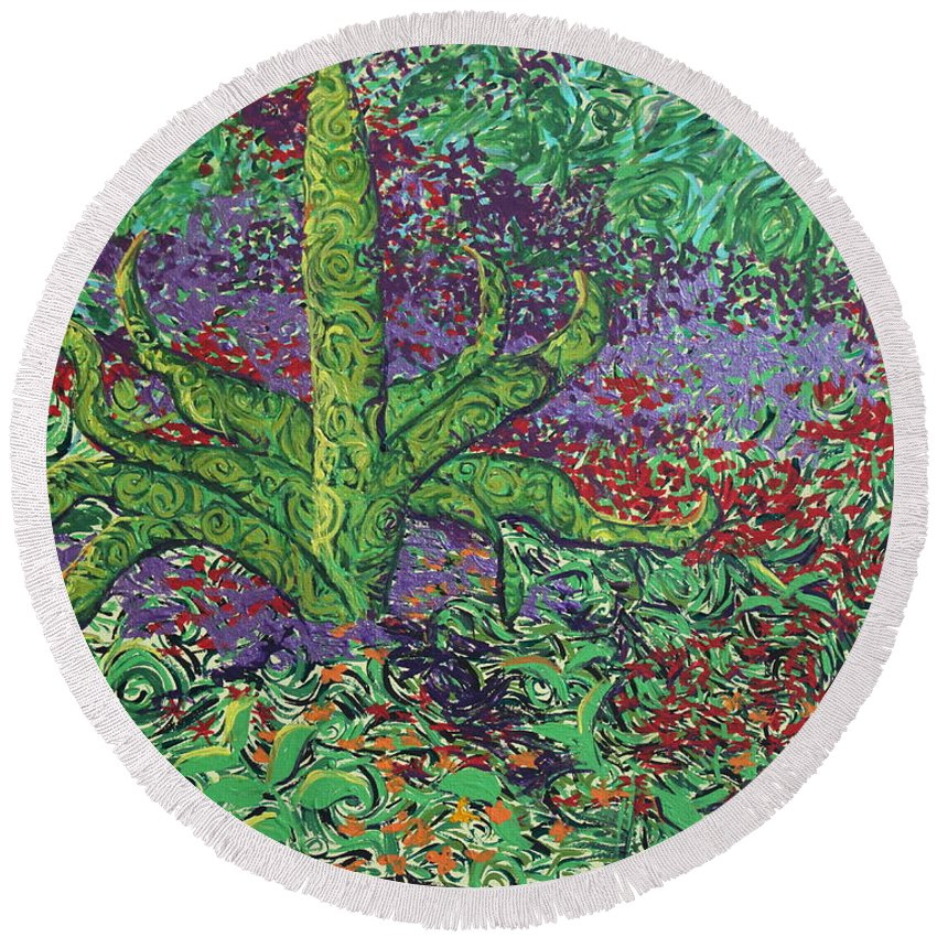 Landscape Round Beach Towel featuring the painting The Plant by Stefan Duncan