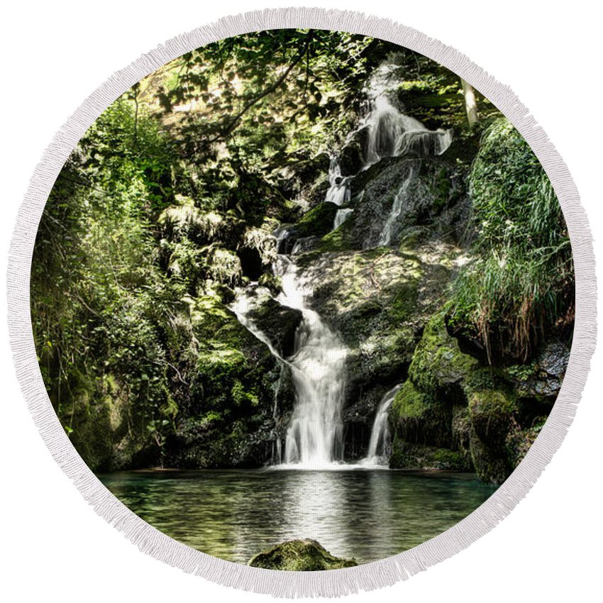 Forest Round Beach Towel featuring the photograph The Pond And The Forest Waterfall by Weston Westmoreland