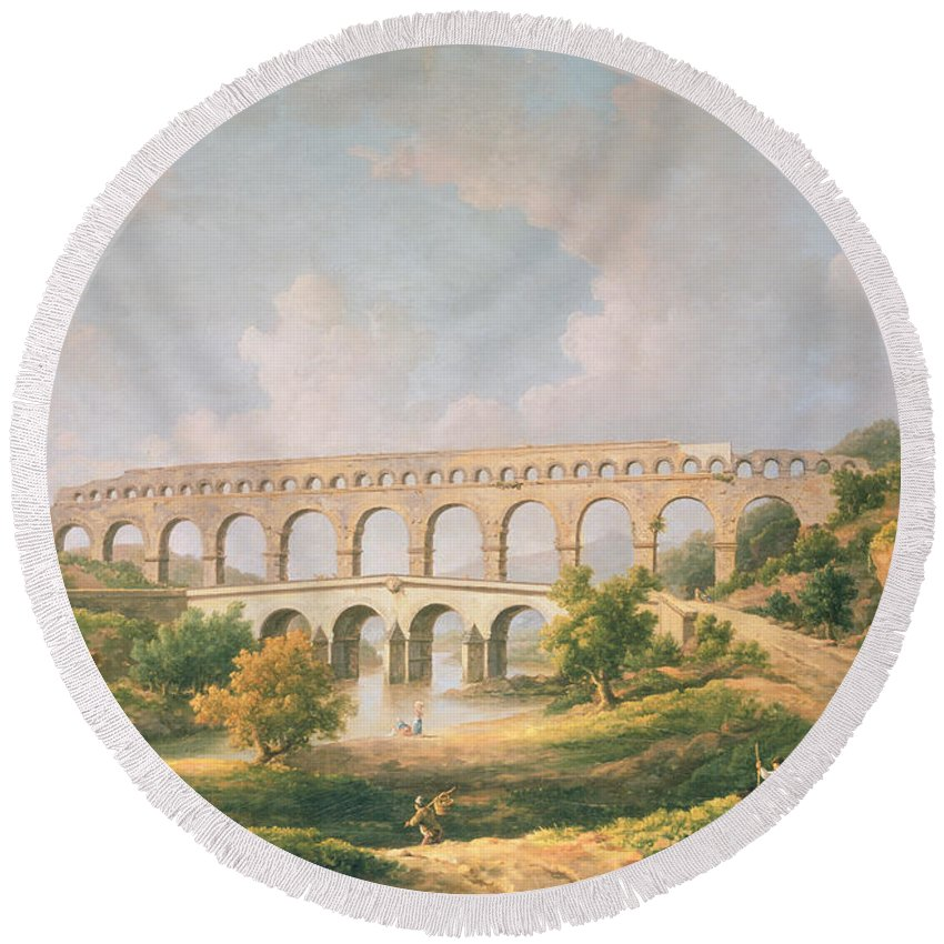 Landscape Round Beach Towel featuring the photograph The Pont Du Gard, Nimes by William Marlow