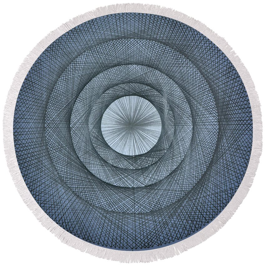 Pi Round Beach Towel featuring the drawing The Power Of Pi by Jason Padgett