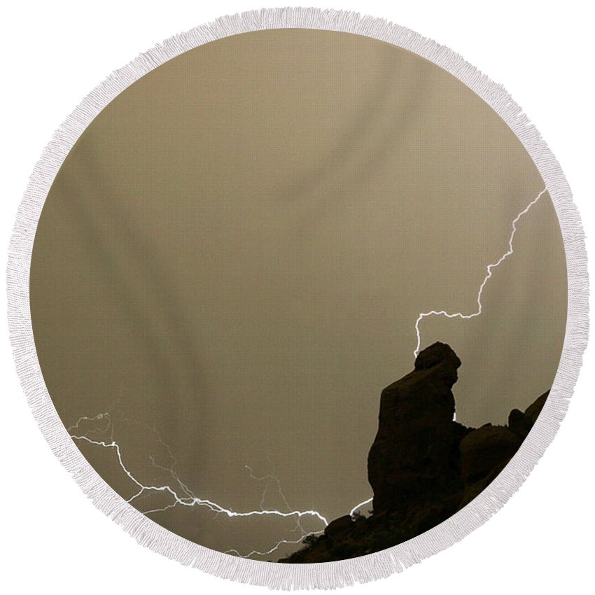 Praying Monk Round Beach Towel featuring the photograph The Praying Monk Lightning Strike by James BO Insogna
