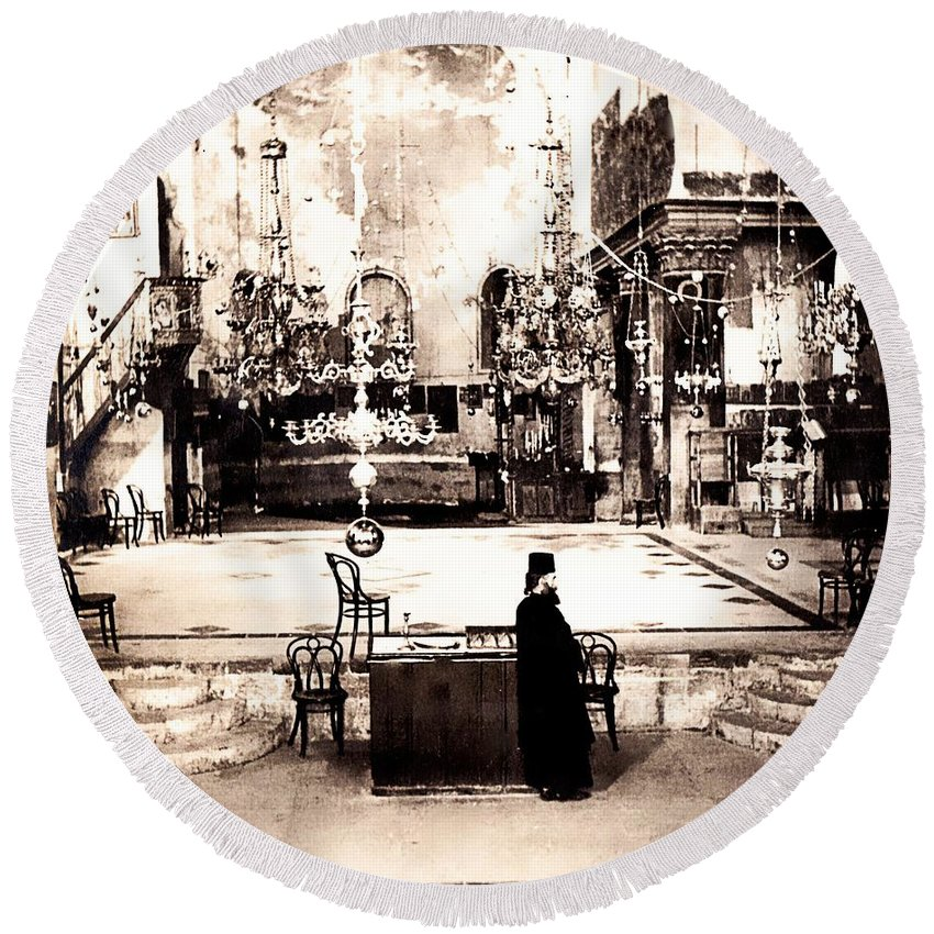 Vintage Round Beach Towel featuring the photograph The Priest by Image Takers Photography LLC