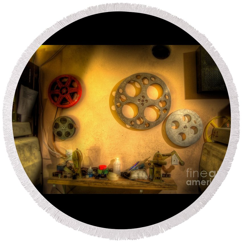 Hdr Round Beach Towel featuring the photograph The Projection Room 4675 by Timothy Bischoff