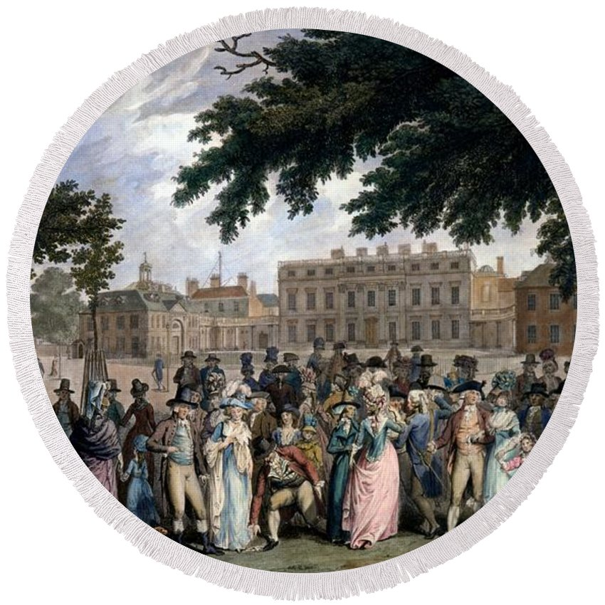 St James Park Round Beach Towel featuring the drawing The Promenade In St James Park, C.1796 by Edward Days
