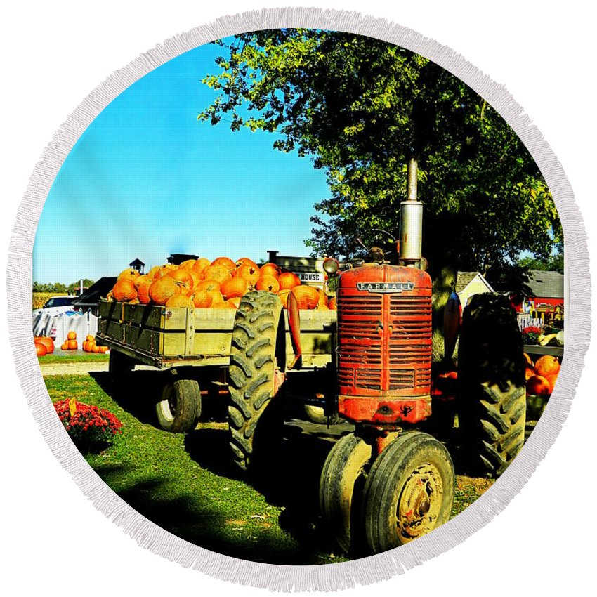 Tractor Round Beach Towel featuring the photograph The Pumpkins Have Arrived by Kathy Barney