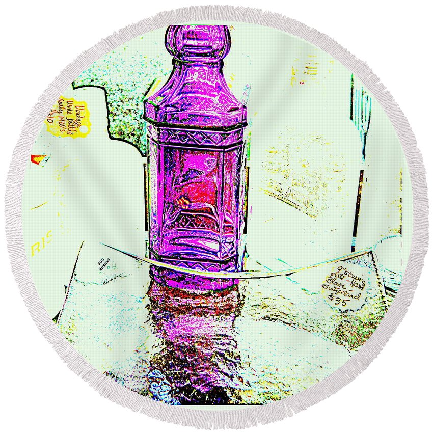 Bottle Round Beach Towel featuring the photograph The Purple Medicine Bottle by Kathy Barney