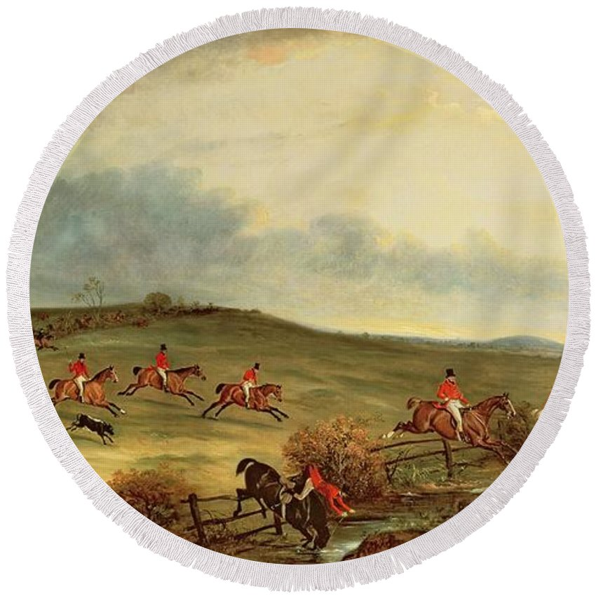 Fox Hunting Round Beach Towel featuring the painting The Quorn In Full Cry Near Tiptoe Hill by John E Ferneley