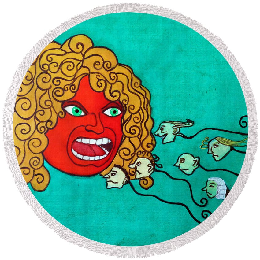 Funny Round Beach Towel featuring the painting The Spermatozoes Race. by Don Pedro DE GRACIA