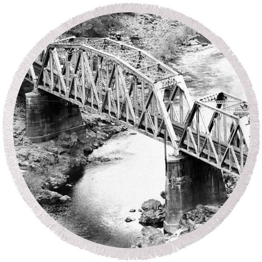 Railroad Round Beach Towel featuring the photograph The Rail Bridge by Holly Blunkall