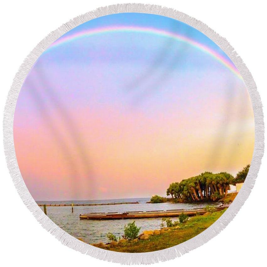 Rainbow Round Beach Towel featuring the photograph The Rainbow by Carlos Avila
