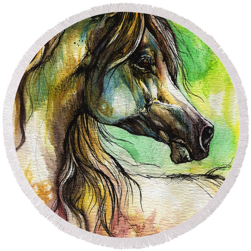 Horse Round Beach Towel featuring the painting The Rainbow Colored Arabian Horse by Angel Ciesniarska