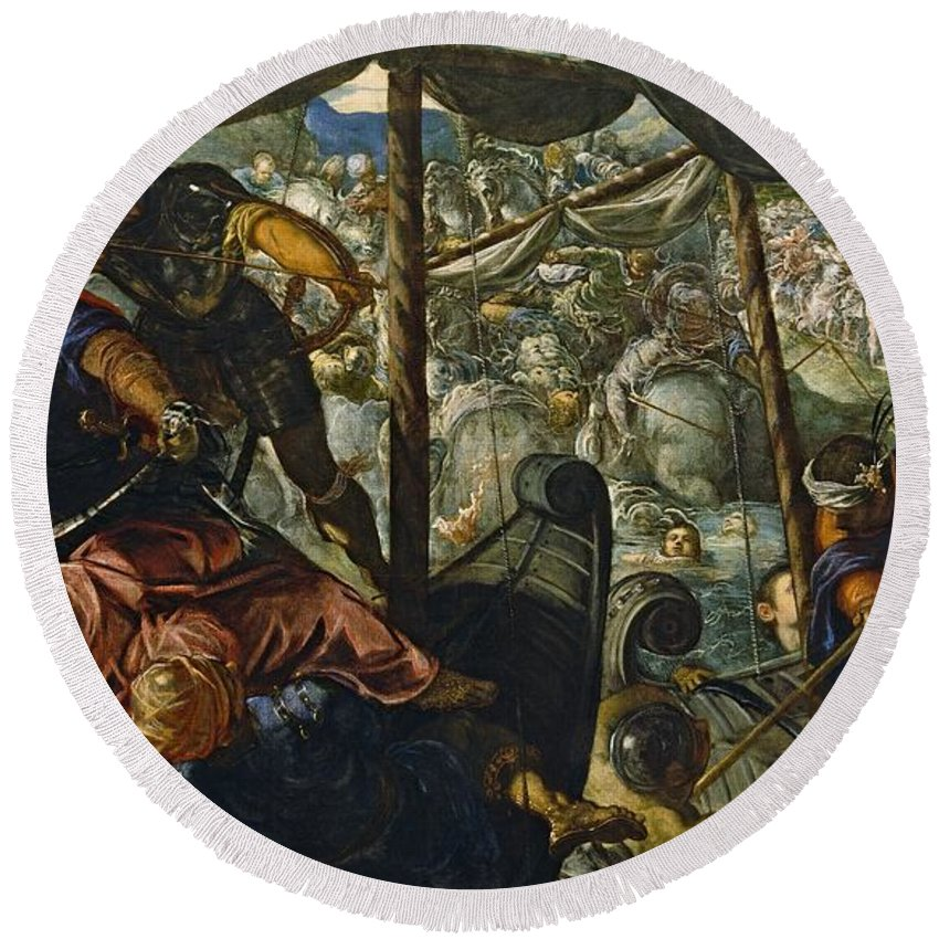 1578 Round Beach Towel featuring the painting The Rape Of Helen by Tintoretto