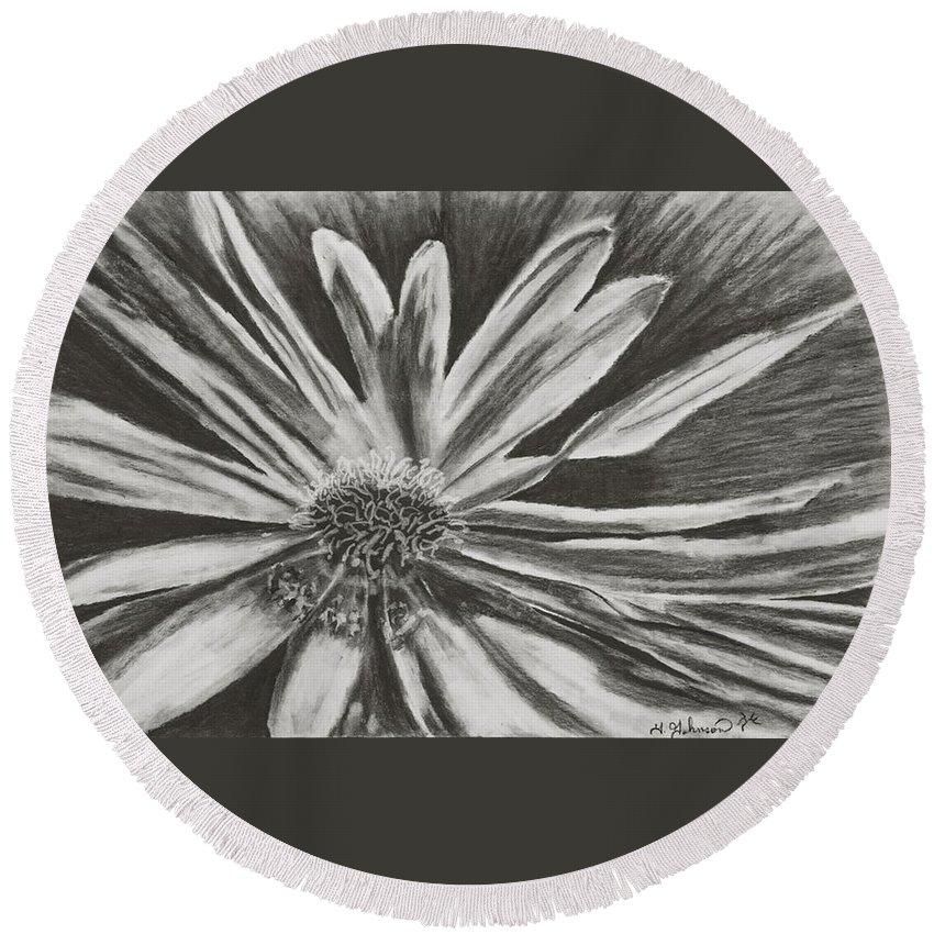 Flower Round Beach Towel featuring the drawing The Reacher by Yolanda Raker