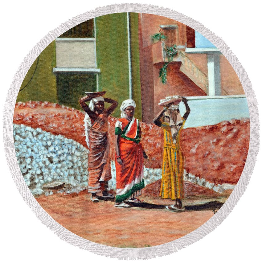 Real Round Beach Towel featuring the painting The Real Home Makers by Usha Shantharam