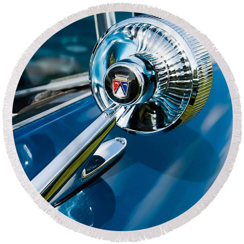 Classic Ford Round Beach Towel featuring the photograph The Side View Mirror by Robert VanDerWal
