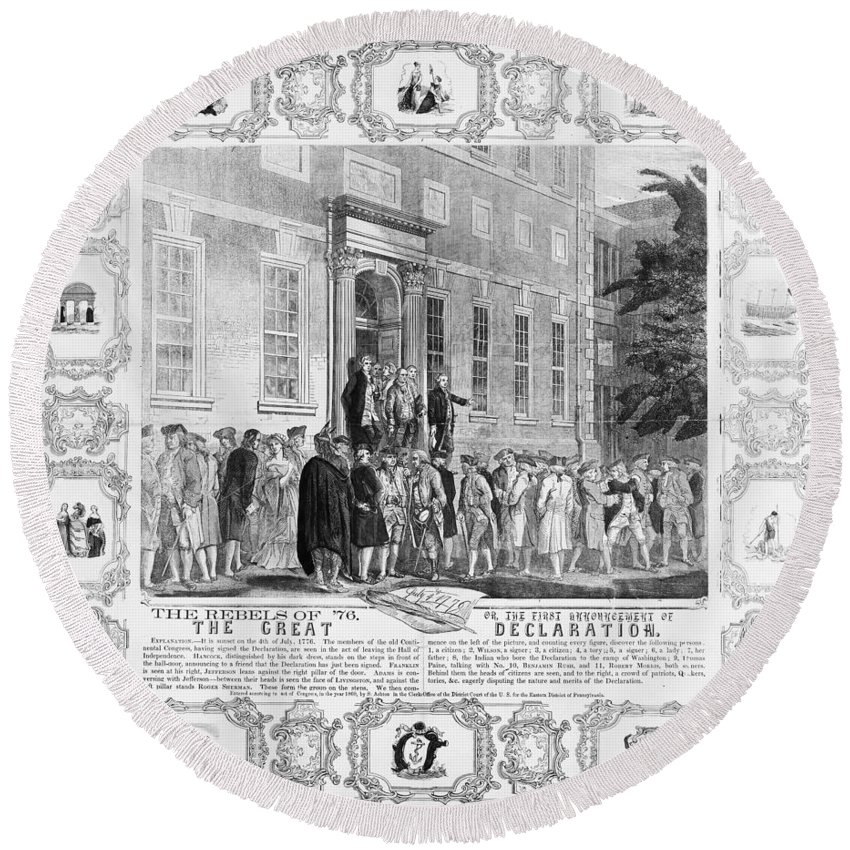 1776 Round Beach Towel featuring the photograph The Rebels Of 76 by Granger