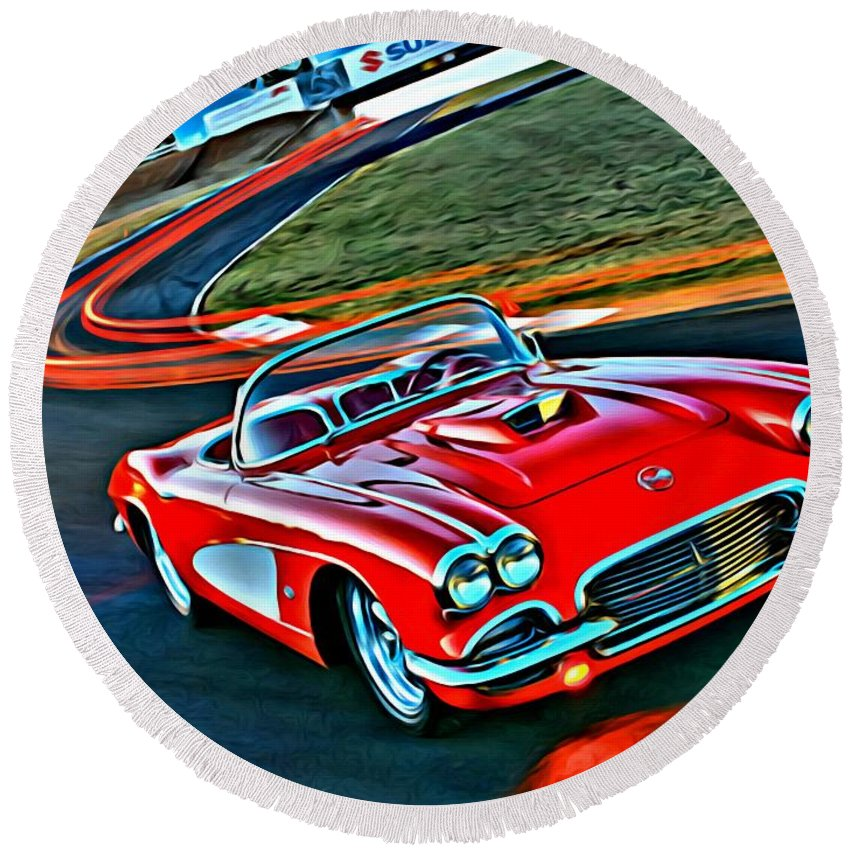 Car Round Beach Towel featuring the painting The Red Corvette by Florian Rodarte