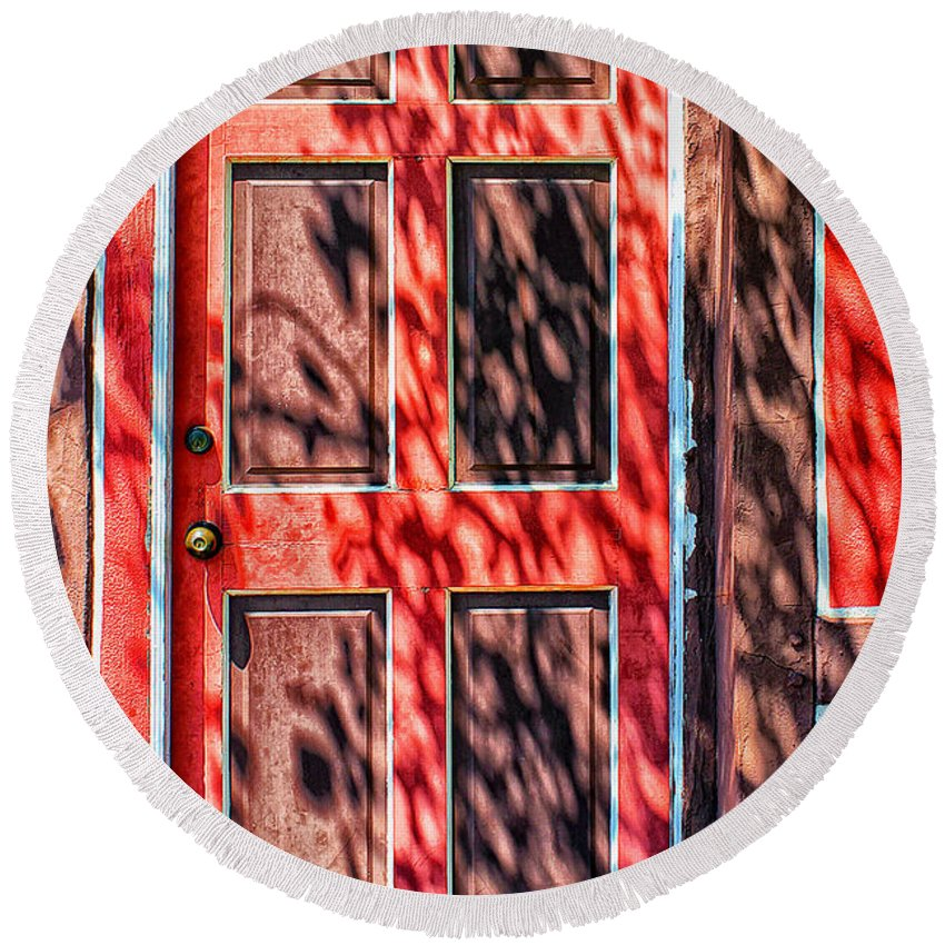 Door Round Beach Towel featuring the photograph The Red Door by Stefan H Unger