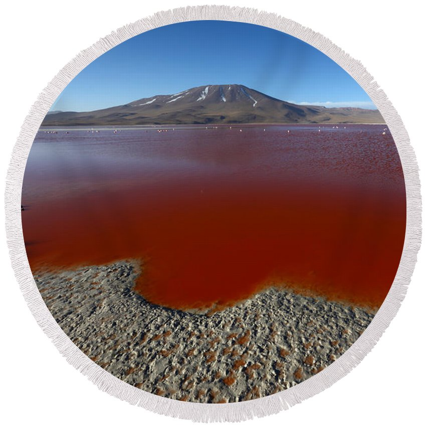 Bolivia Round Beach Towel featuring the photograph The Red Lagoon by James Brunker