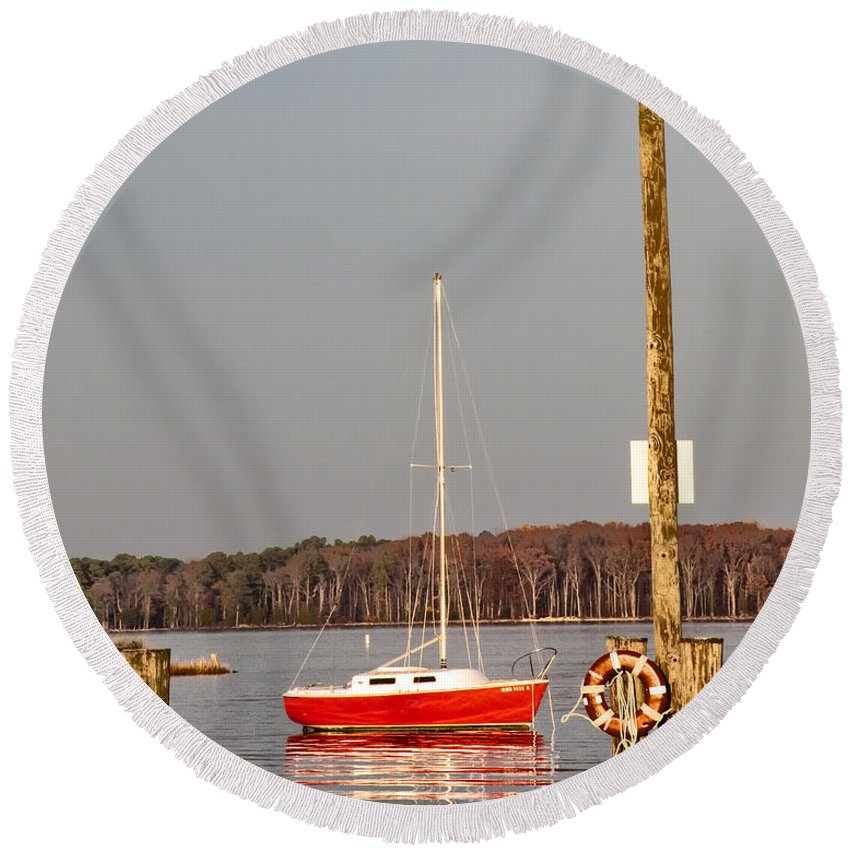 The Red Sailboat Round Beach Towel featuring the photograph The Red Sailboat by Bill Cannon