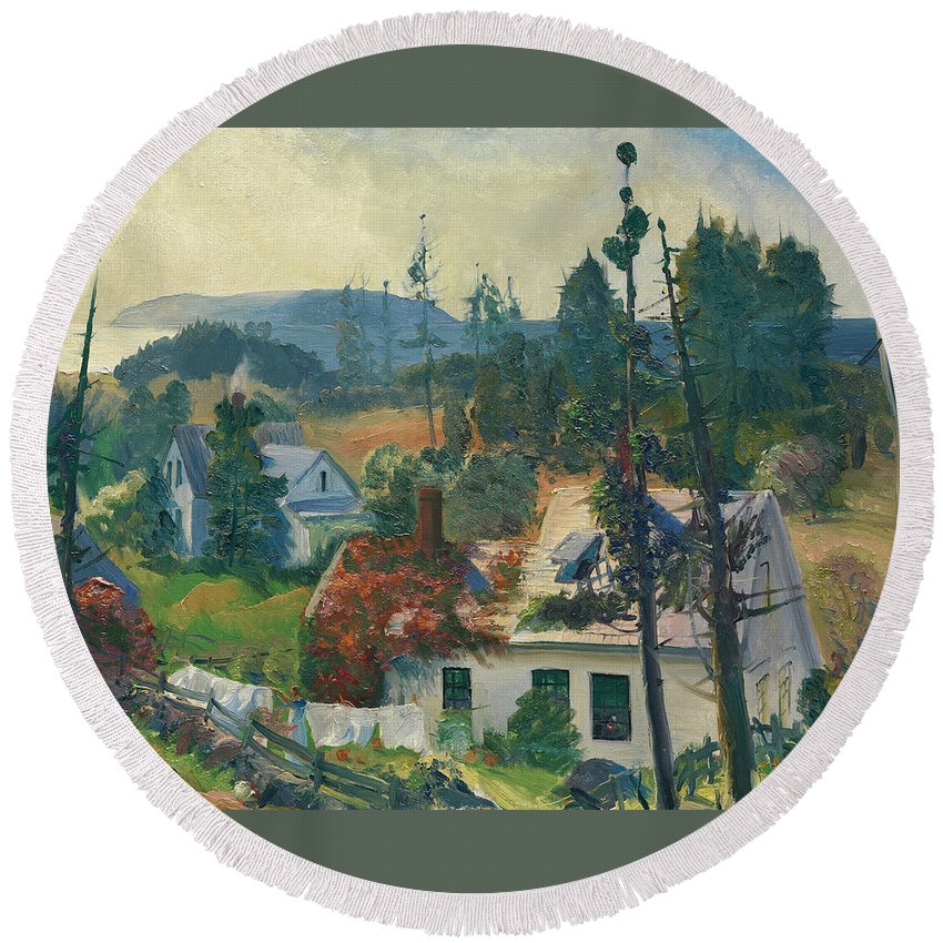 George Bellows Round Beach Towel featuring the painting The Red Vine. Matinicus Island. Maine by George Bellows
