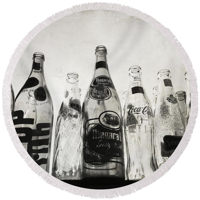 Bottles Round Beach Towel featuring the photograph The Refund by The Artist Project