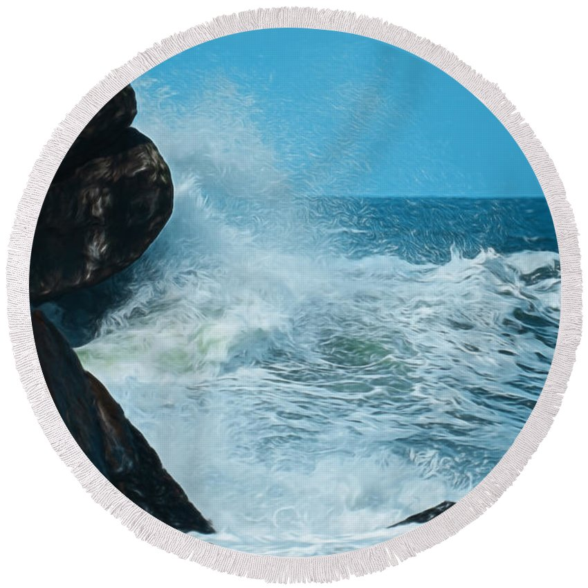 Oceans Round Beach Towel featuring the digital art The Restless Sea Digital Art by Ernie Echols