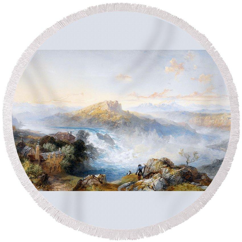 Der Rheinfall Bei Schaffhausen Round Beach Towel featuring the digital art The Rhine Falls At Schaffhausen by James Duffield Harding