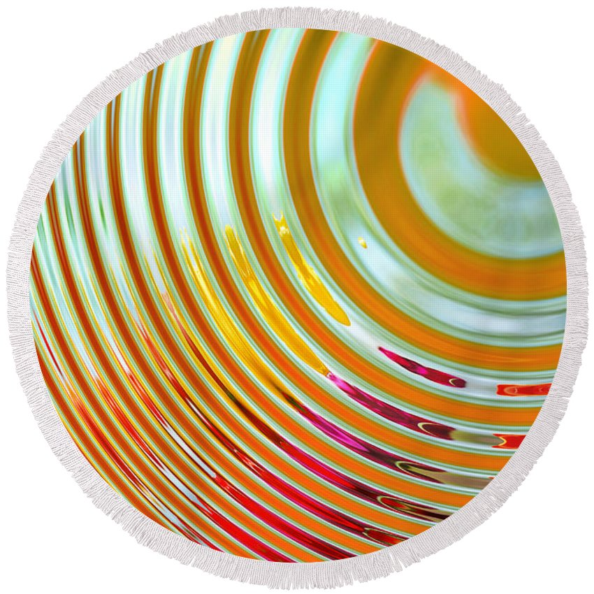 Abstract Round Beach Towel featuring the digital art The Ripple Effect by Mary Machare
