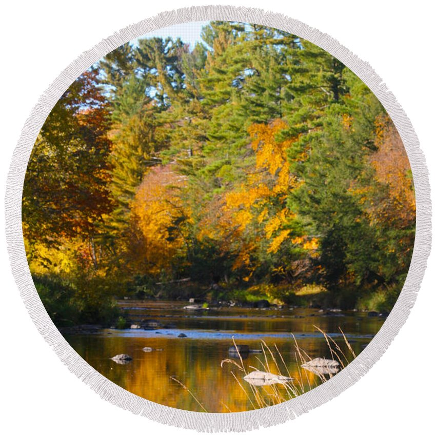 Amco Park Round Beach Towel featuring the photograph The River Flows by Tiffany Erdman