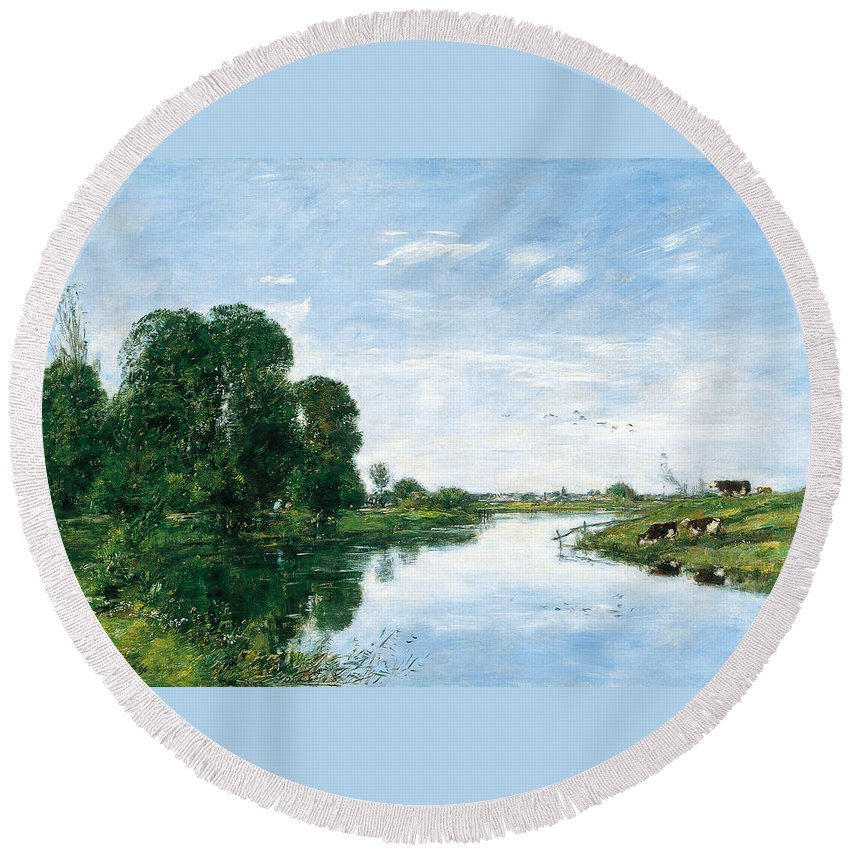 Eugene Boudin Round Beach Towel featuring the painting The River Touques At Saint-arnoult by Eugene Boudin