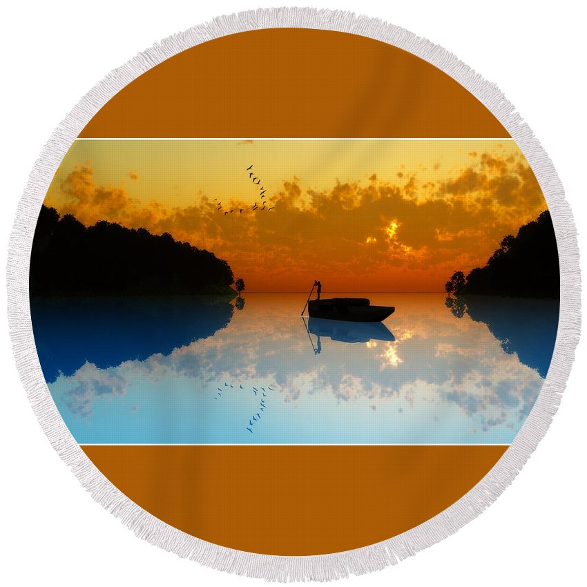 Seascape Round Beach Towel featuring the digital art The Riverboat... by Tim Fillingim