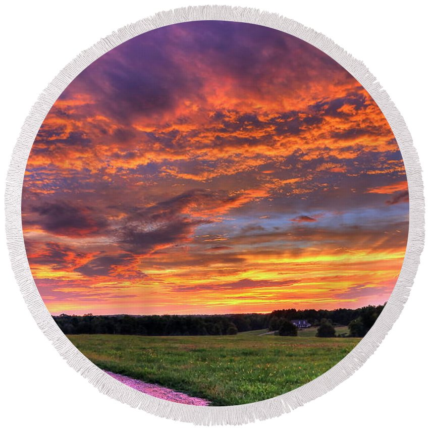 Sunrise Round Beach Towel featuring the photograph The Road Home by Reid Callaway